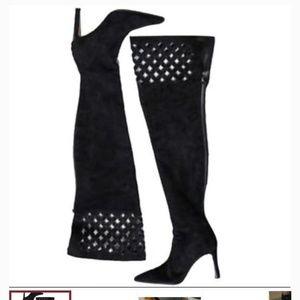 ManoloBlahnik Black LaceLattice Over the Knee Boot